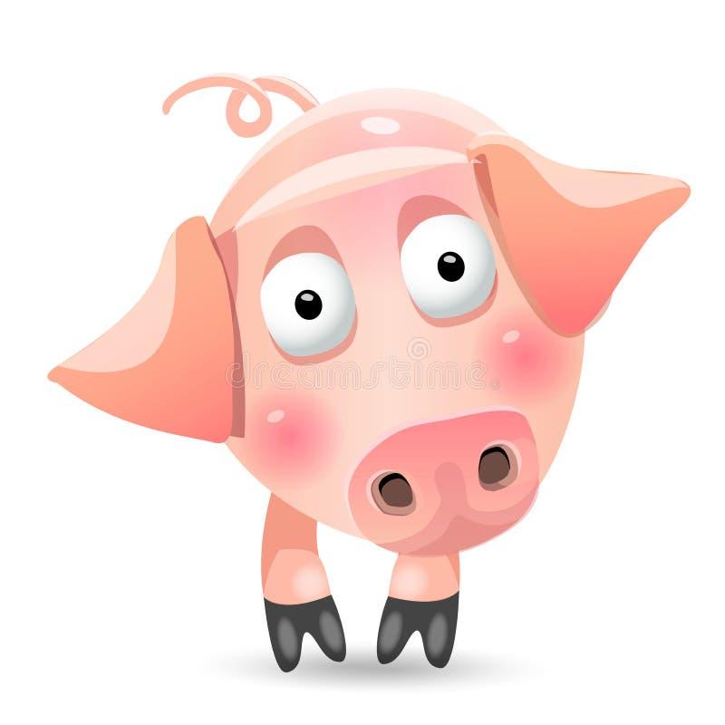 Caráter magro do jogo do porco dos desenhos animados bonitos Vector a ilustração, clipart, isolado no fundo branco ilustração stock