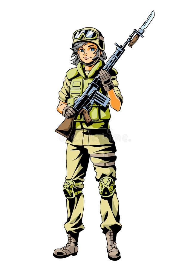 Caráter marinho da menina do exército ilustração do vetor
