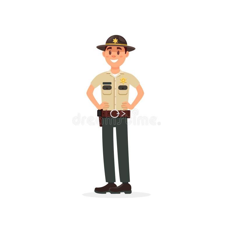 Caráter masculino de sorriso do agente da polícia do xerife da cidade no uniforme oficial que está com mãos em seu vetor da cintu ilustração do vetor