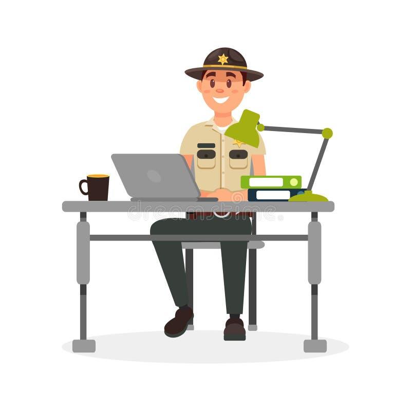 Caráter masculino do agente da polícia do xerife da cidade alegre no uniforme oficial que trabalha com o portátil em seu vetor do ilustração do vetor