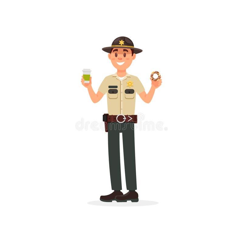 Caráter masculino do agente da polícia do xerife da cidade alegre no vetor guardando uniforme oficial da xícara de café e da filh ilustração do vetor