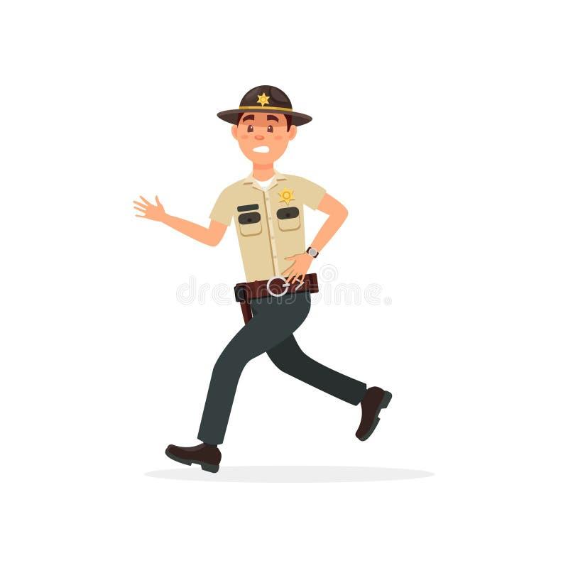 Caráter masculino do agente da polícia do xerife da cidade na ilustração running uniforme oficial do vetor em um fundo branco ilustração do vetor
