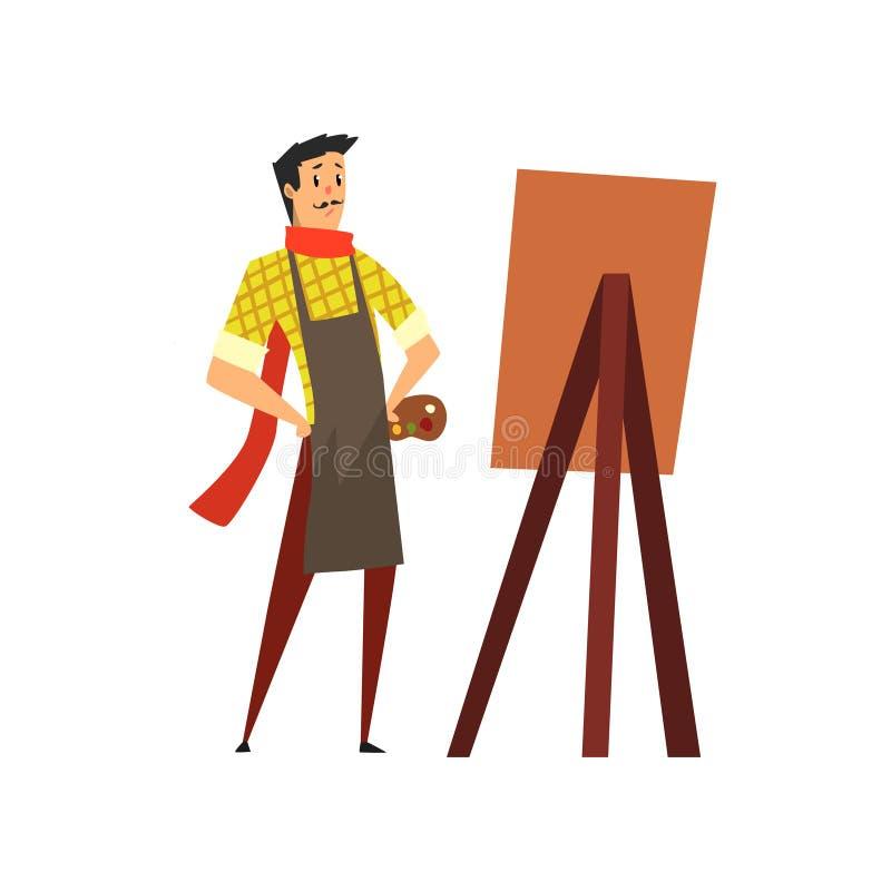 Caráter masculino do artista no desenho do avental em uma ilustração do vetor dos desenhos animados do conceito da armação, do pa ilustração stock