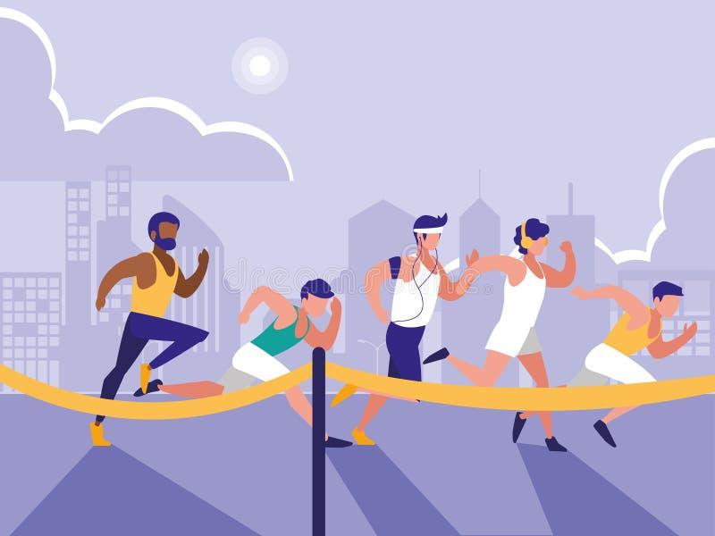 Caráter masculino do avatar da raça do atletismo ilustração royalty free