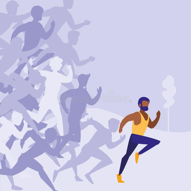 Caráter masculino do avatar da raça do atletismo ilustração stock