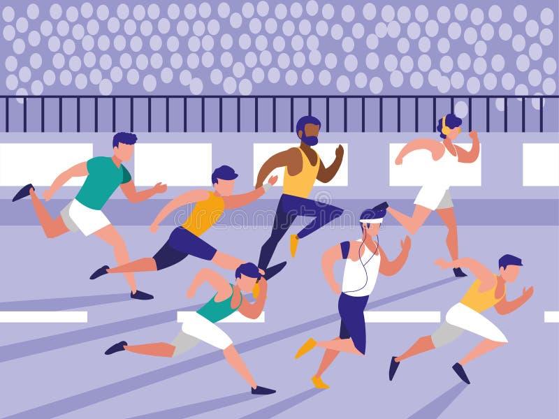 Caráter masculino do avatar da raça do atletismo ilustração do vetor