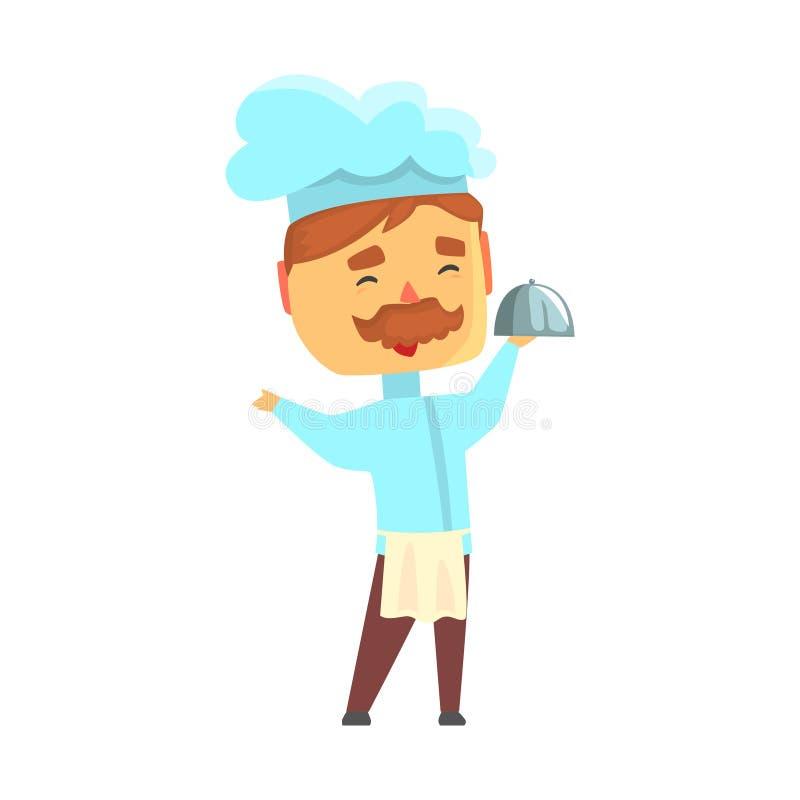 Caráter masculino do cozinheiro do cozinheiro chefe na campânula guardando uniforme da bandeja, ilustração do vetor dos desenhos  ilustração royalty free