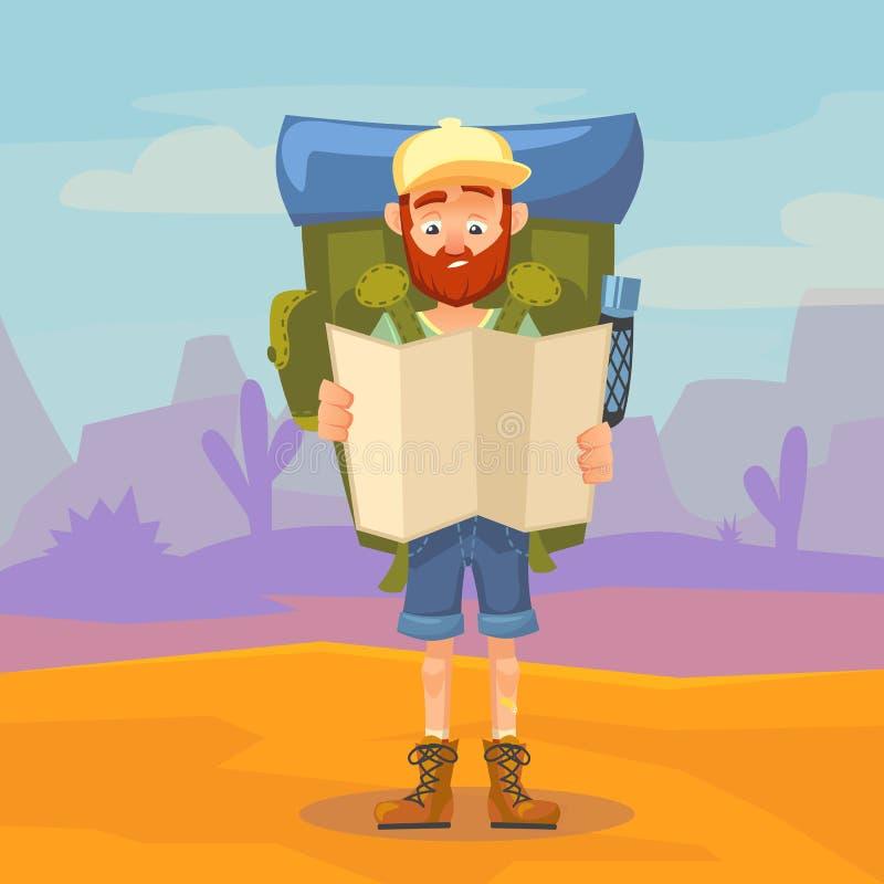 Caráter masculino do turista bonito que guarda um mapa Caminhando o homem do turista com a grande trouxa no fundo de uma montanha ilustração do vetor