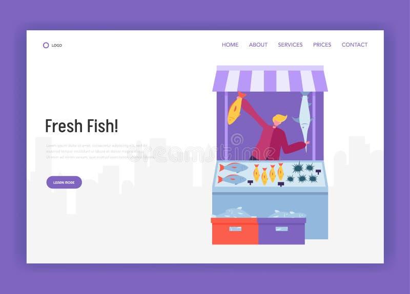 Caráter masculino do vendedor que vende peixes e marisco na página moderna da aterrissagem da loja da rua Fazendeiro Organic Mark ilustração stock