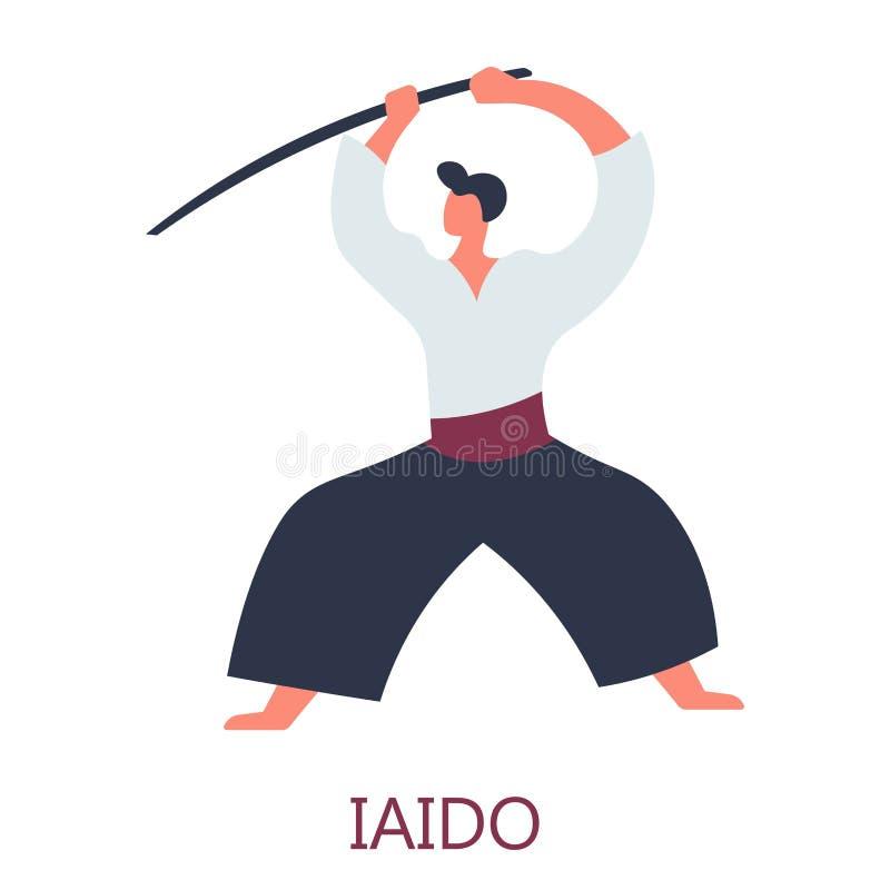 Caráter masculino isolado ataque de combate japonês da espada da arte ilustração royalty free