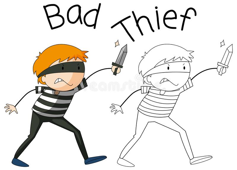 Caráter mau do ladrão da garatuja ilustração stock