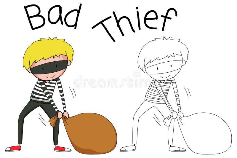 Caráter mau do ladrão da garatuja ilustração do vetor