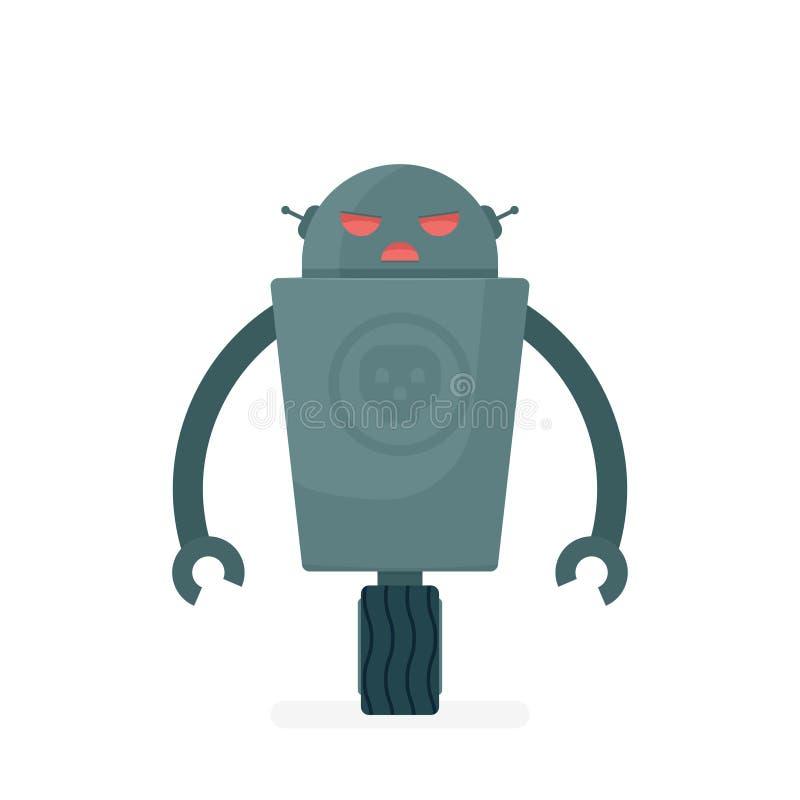 Caráter mau do robô dos desenhos animados ilustração do vetor