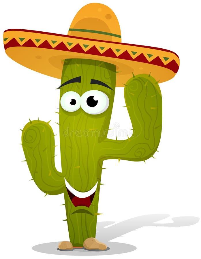 Caráter mexicano do cacto dos desenhos animados ilustração stock