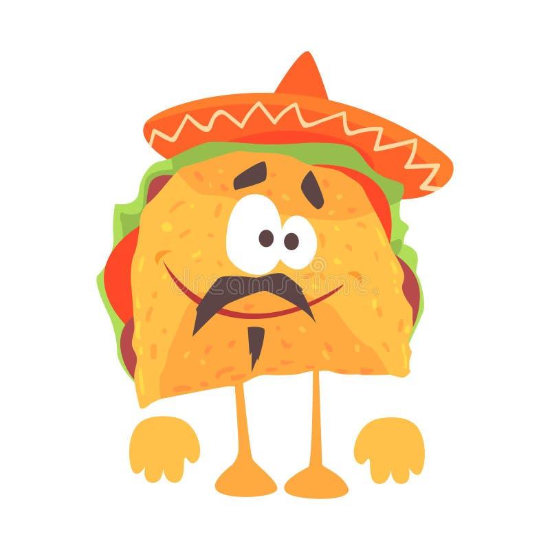 Caráter mexicano do taco dos desenhos animados engraçados com carne e vegetais, alimento humanizado tradicional no vetor tradicio ilustração do vetor