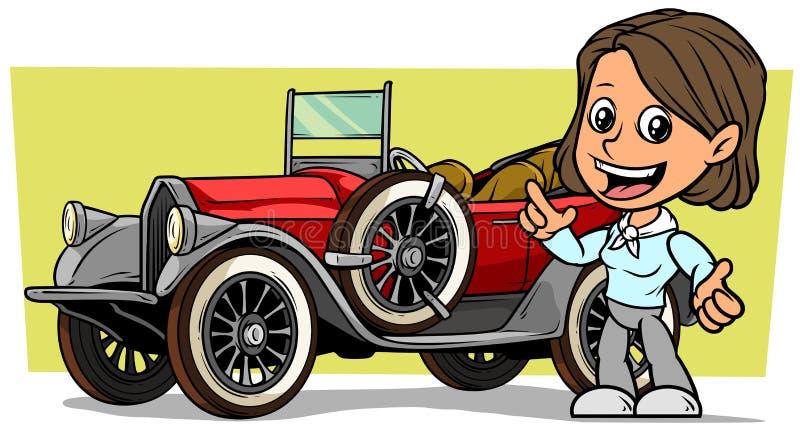 Caráter moreno de sorriso liso bonito branco da menina dos desenhos animados com o carro convertível vermelho luxuoso do vintage  ilustração do vetor