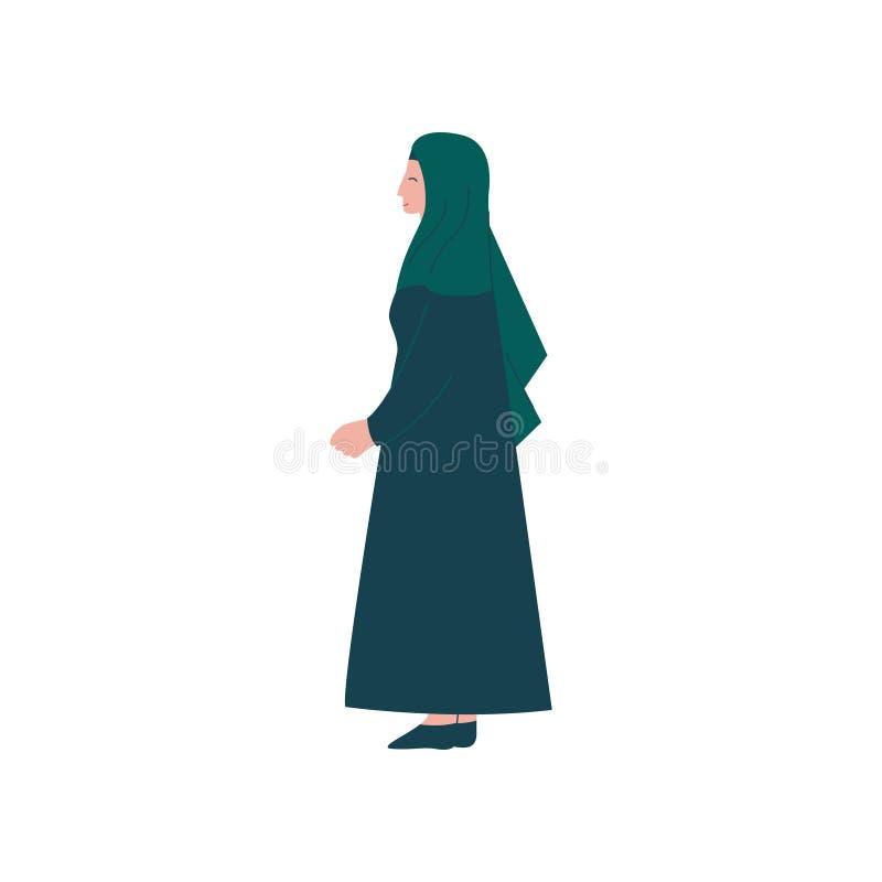 Caráter muçulmano da mulher na roupa tradicional, ilustração do vetor da vista lateral ilustração royalty free