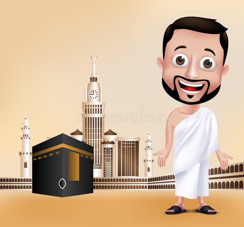 Caráter muçulmano do homem que executa o Haj ou o Umrah ilustração do vetor