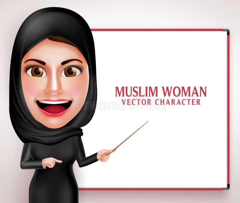 Caráter muçulmano do vetor da mulher que apresenta ou que ensina na placa branca ilustração do vetor