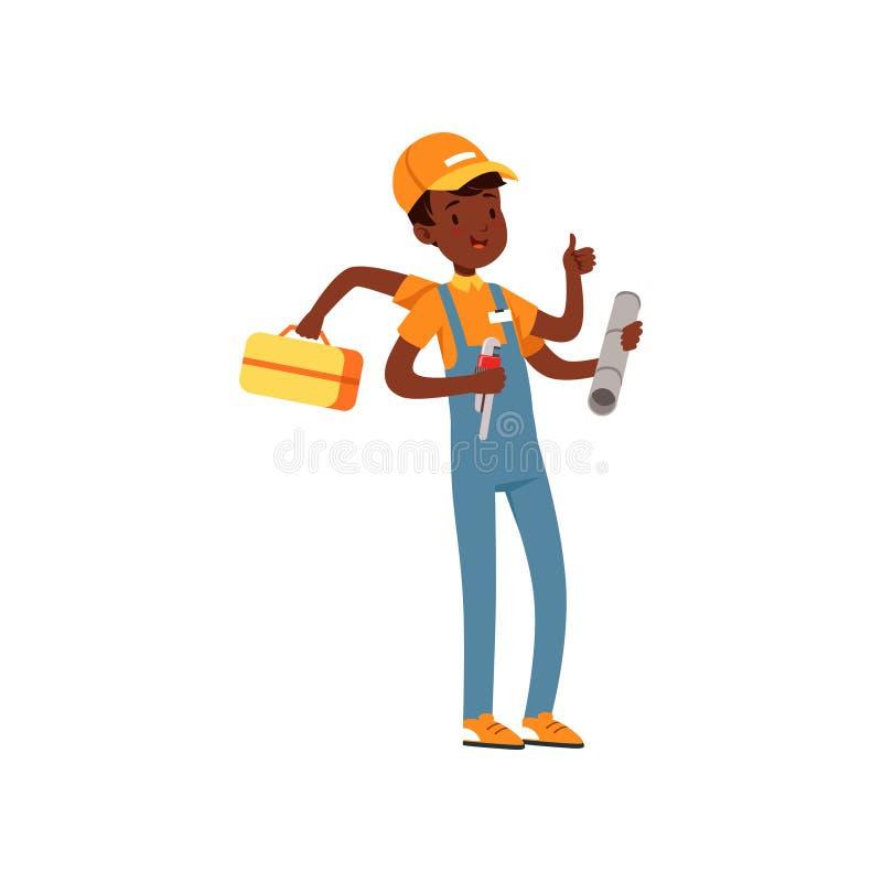 Caráter a multitarefas do encanador, menino afro-americano no uniforme muitas mãos que guardam a chave e o vetor da caixa de ferr ilustração royalty free