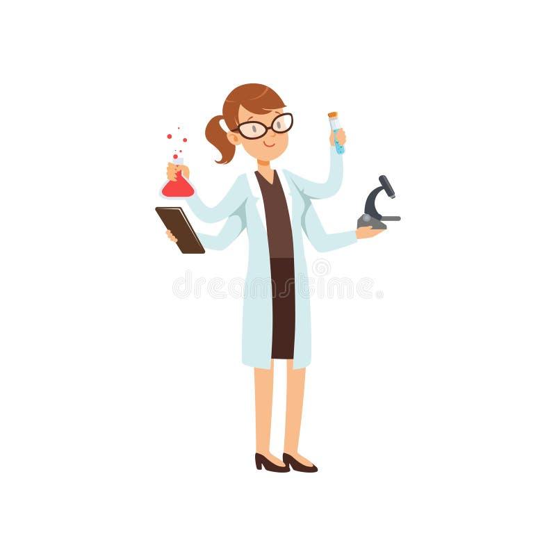 Caráter a multitarefas do químico da menina, cientista fêmea no revestimento branco com muitas mãos que guardam garrafas e micros ilustração stock