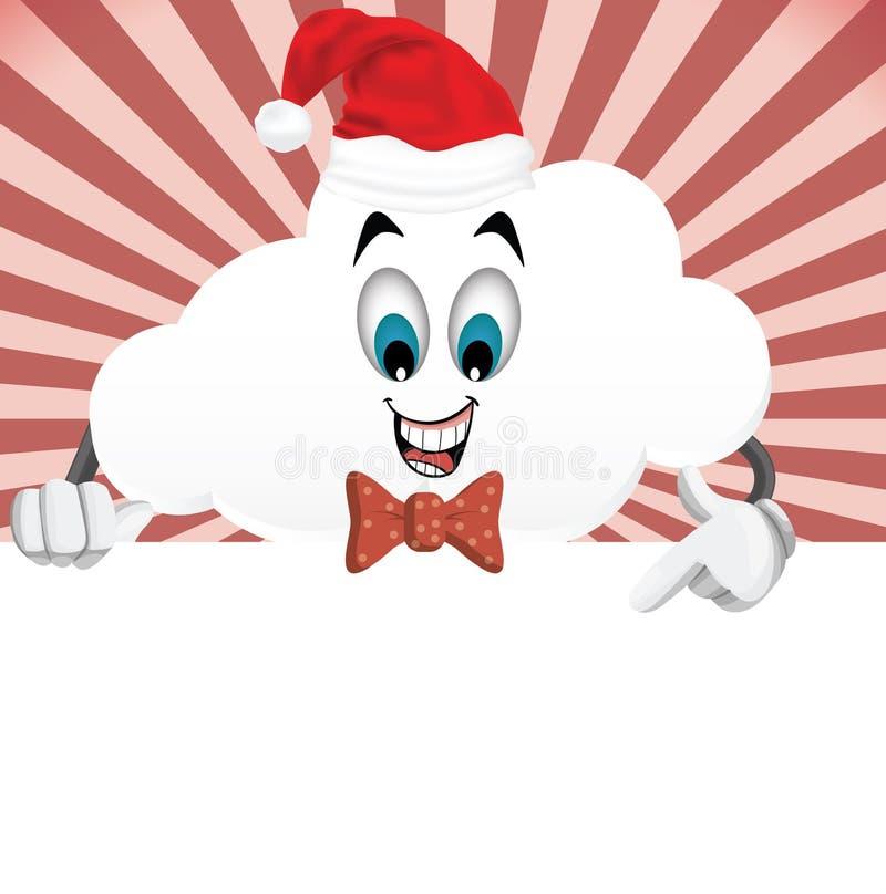 Caráter-Natal da nuvem dos desenhos animados do divertimento, conceito do ano novo ilustração stock