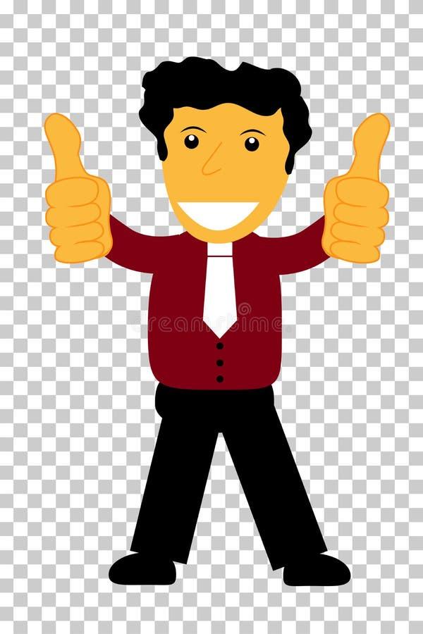 Caráter - o homem do cabelo encaracolado dá o polegar dois acima, no fundo transparente do efeito ilustração royalty free