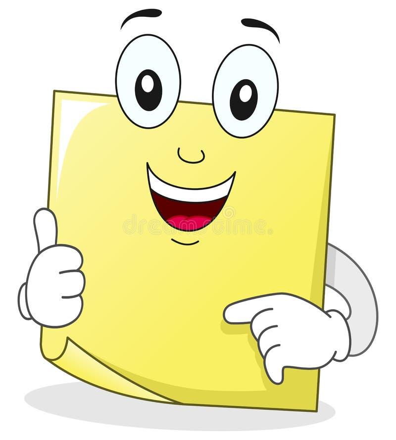 Caráter pegajoso da nota do post-it amarelo ilustração royalty free