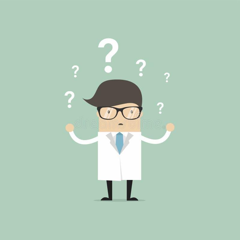 Caráter pensativo do doutor que tem muitas perguntas ilustração do vetor