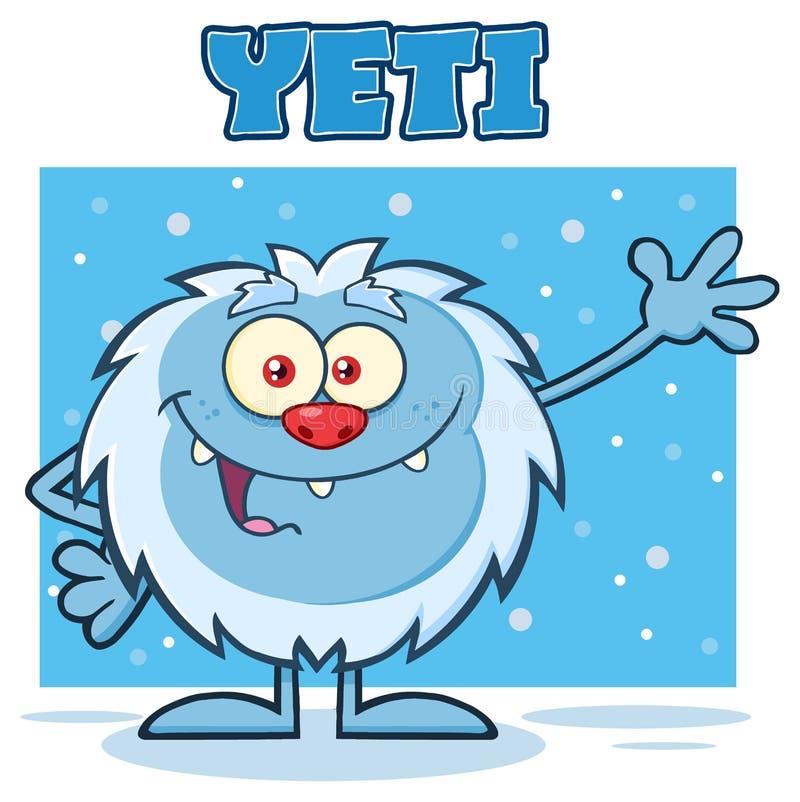 Caráter pequeno da mascote dos desenhos animados do abominável homem das neves que acena para cumprimentar com abominável homem d ilustração stock