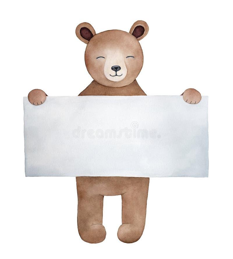 Caráter pequeno do urso de peluche com quadrado grande nota de papel dada forma ilustração do vetor