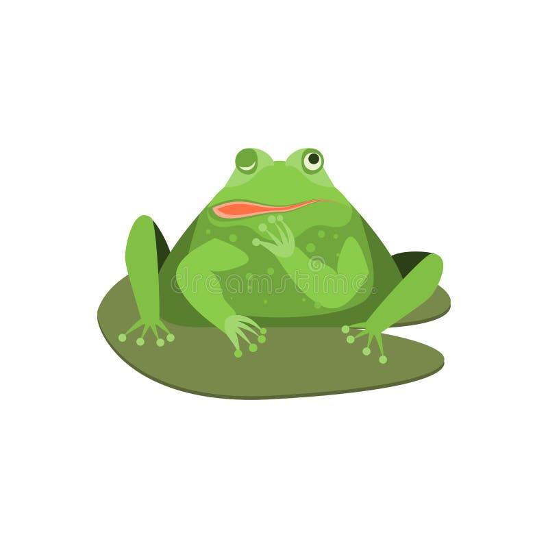 Caráter pisc bonito da rã verde dos desenhos animados Vetor ilustração do vetor
