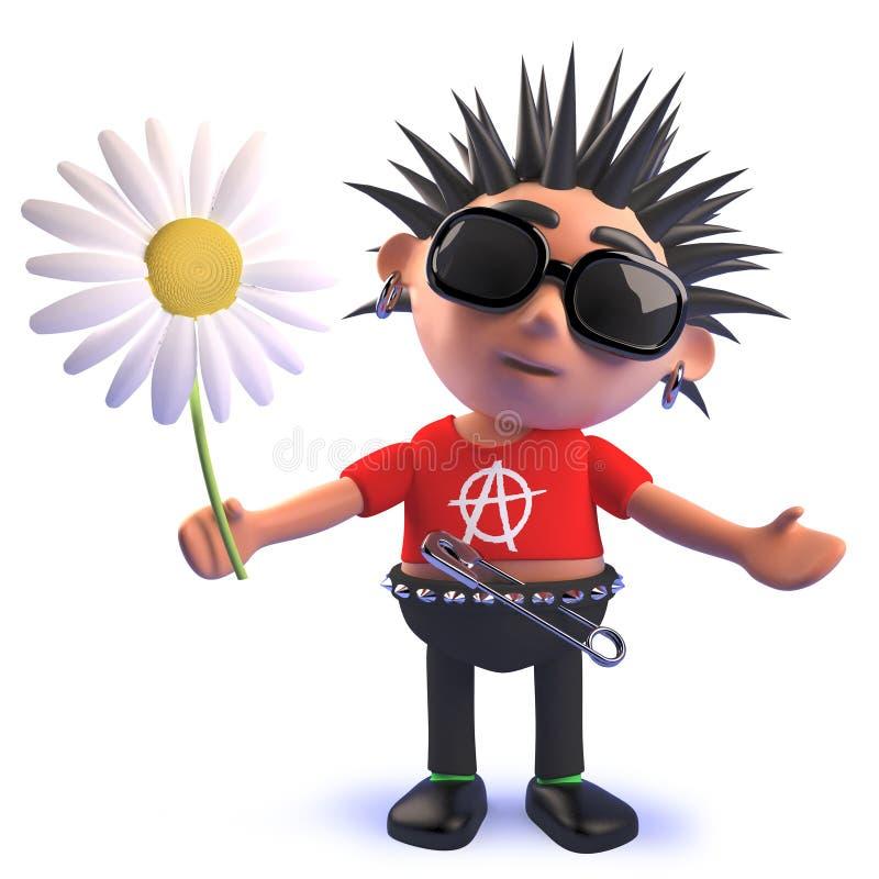Caráter podre do balancim punk dos desenhos animados 3d que guarda uma flor da margarida ilustração do vetor