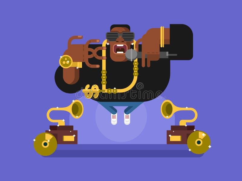 Caráter preto do rapper ilustração do vetor