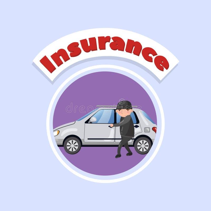 Caráter profissional do ladrão de carro que rouba e que quebra a porta de carro, ilustração do vetor do conceito do seguro de car ilustração do vetor