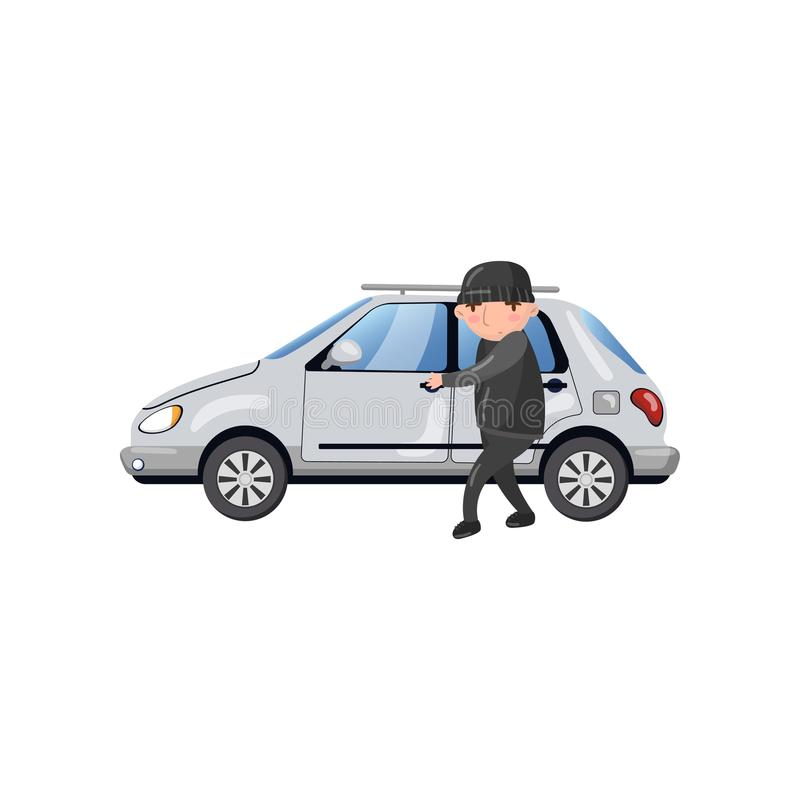 Caráter profissional do ladrão de carro que rouba e que quebra a porta de carro, ilustração do vetor dos desenhos animados do con ilustração do vetor
