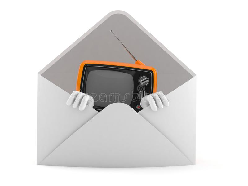 Caráter retro da tevê dentro do envelope ilustração do vetor
