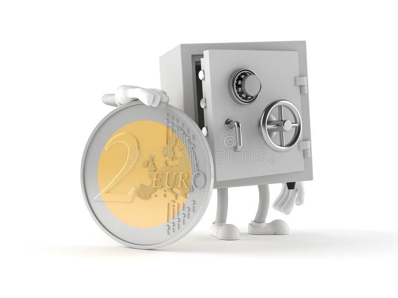 Caráter seguro com euro- moeda ilustração royalty free