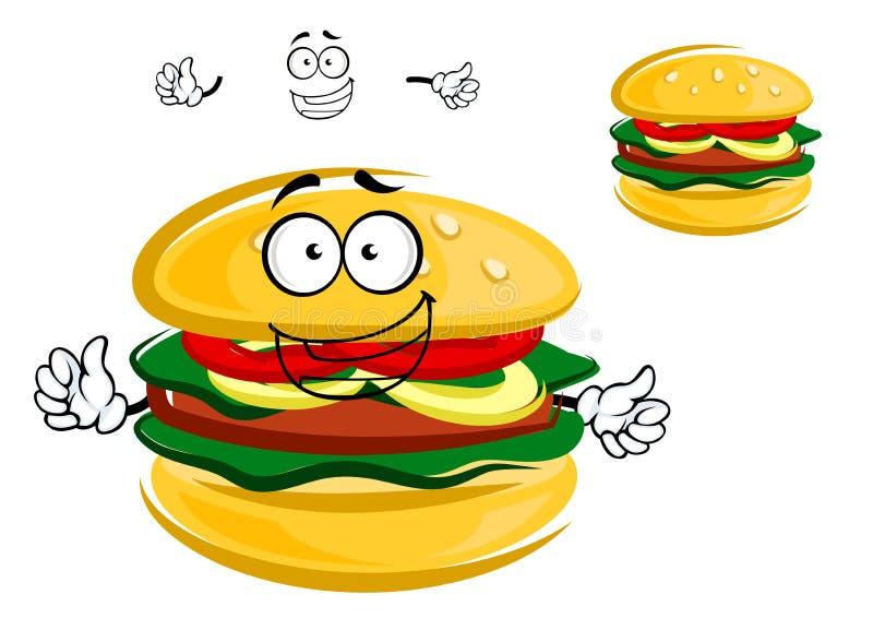 Caráter tentador saboroso feliz do Hamburger dos desenhos animados ilustração stock