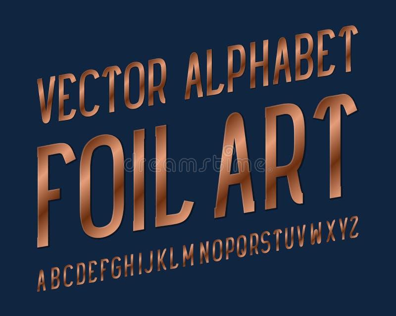 Caráter tipo da arte da folha Fonte de cobre Alfabeto inglês isolado ilustração stock