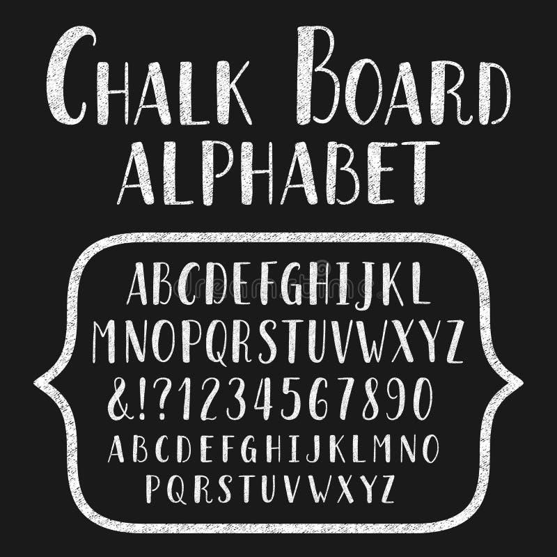 Caráter tipo da placa de giz Alfabeto desenhado mão ilustração stock
