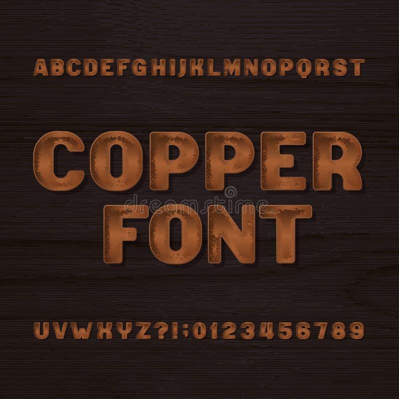 Caráter tipo de cobre do metal Fonte retro do alfabeto Letras e números metálicos em um fundo áspero escuro ilustração stock