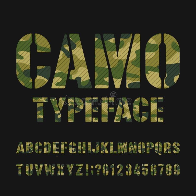 Caráter tipo do alfabeto de Camo Tipo letras e números do estêncil em um fundo escuro ilustração stock
