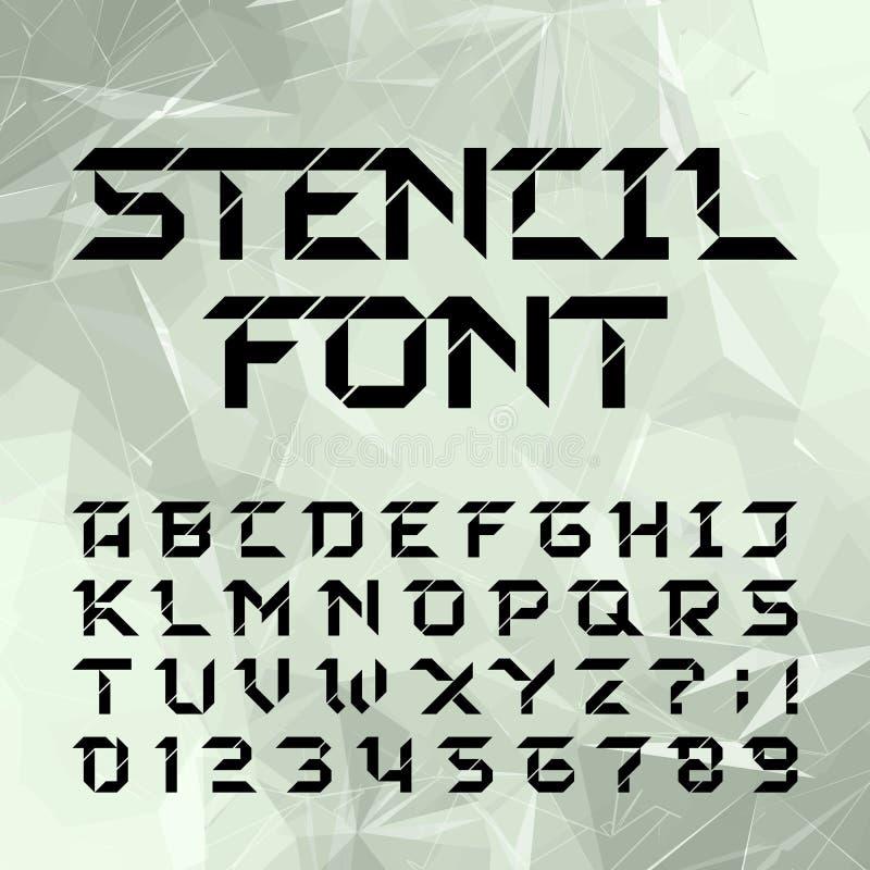 Caráter tipo do alfabeto do estêncil Tipo geométrico letras e números ilustração do vetor