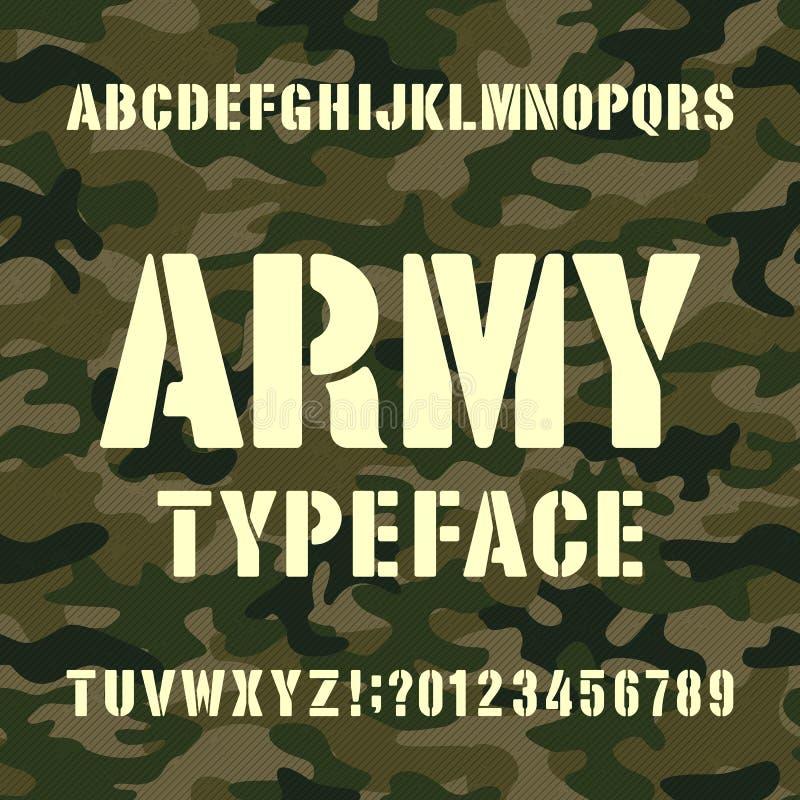 Caráter tipo do alfabeto do exército Letras e números do estêncil no fundo afligido do camo ilustração do vetor