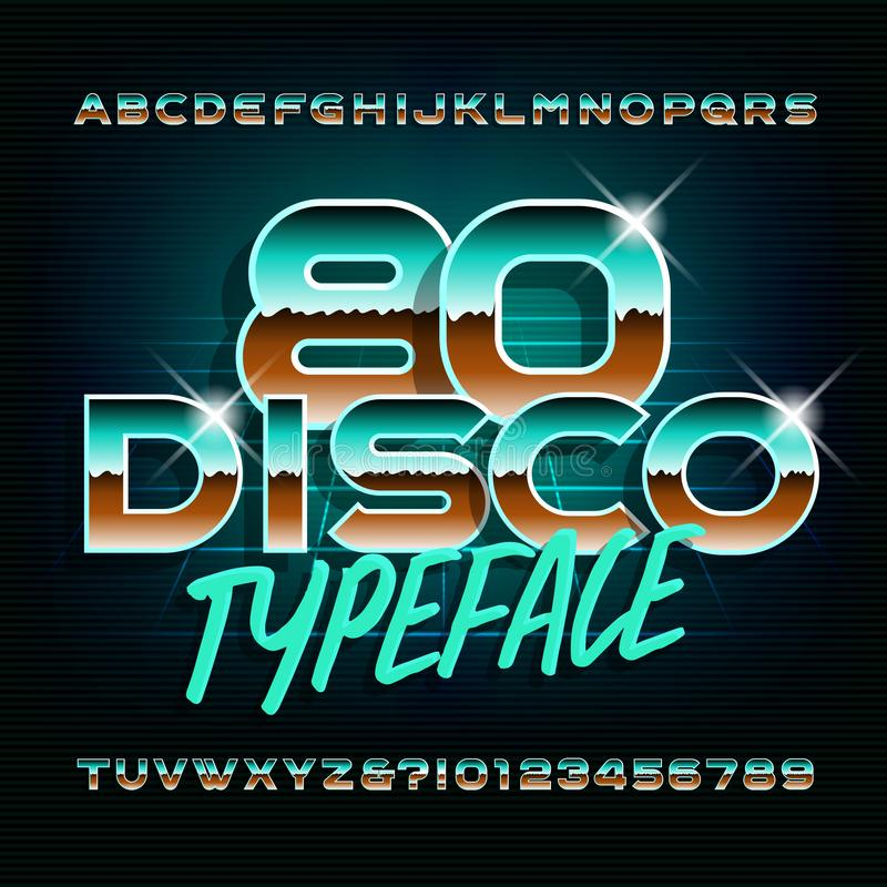 Caráter tipo do disco 80 Letras e números brilhantes Fonte conservada em estoque do alfabeto do vetor ilustração stock