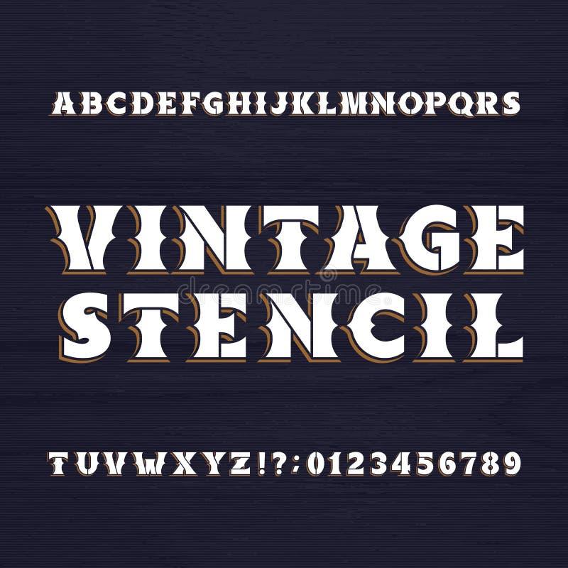 Caráter tipo do estêncil do vintage Fonte retro do alfabeto em um fundo de madeira ilustração do vetor