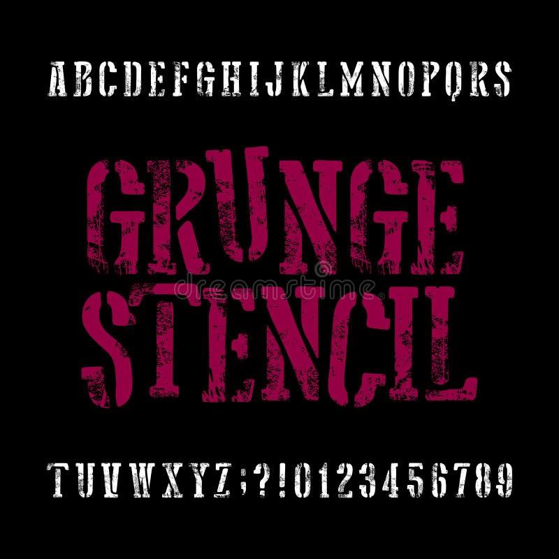 Caráter tipo do estêncil do Grunge Fonte retro do alfabeto Letras riscadas ilustração royalty free