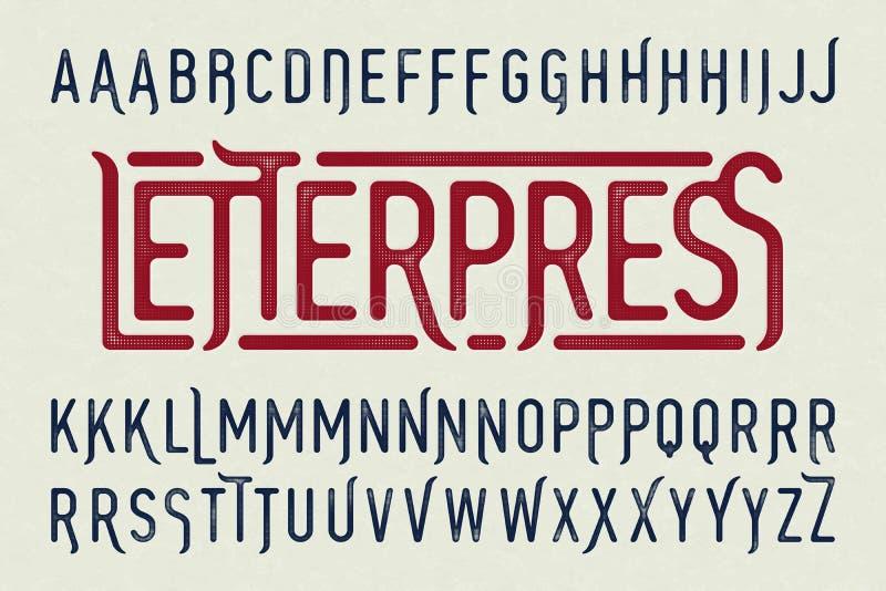 Caráter tipo do vintage do estilo da impressão da tipografia ilustração stock