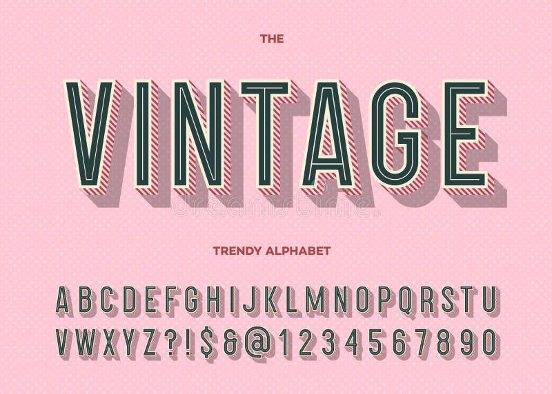 Caráter tipo do vintage Tipografia na moda do alfabeto moderno retro ilustração royalty free